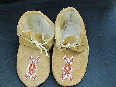 9 Inches Long  Beaded Moccasins  Home Tanned Moose Hide Shimmering Silver Vamp