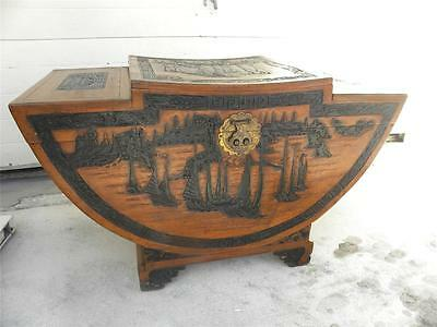 EXCEPTIONAL ORIENTAL CARVED CAMPHOR WOOD VINTAGE TRUNK HOPE CHEST  PAGODA SHAPED
