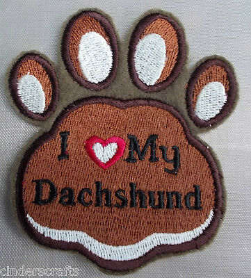 Embroidered Iron/Sew on Applique Badge or Patch I Heart My Dachshund  Pawprint