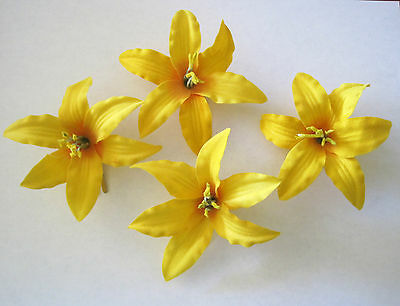 """3.5"""" Yellow Lily 4 pc Silk Flower Hair Clip Lot,Pin Up,Updo,Rockabilly,Hat"""