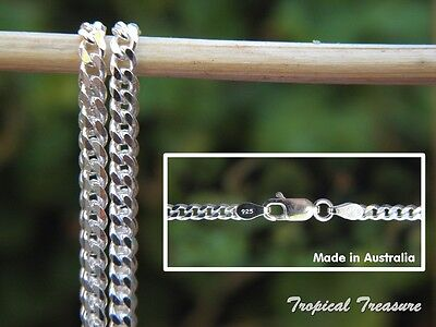 "3.0mm CURB Chain (16"" 40cm - 32"" 80cm) - 925 SOLID Sterling Silver"
