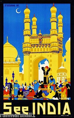 See India Hyderabad Vintage India Travel Advertisement Vintage Poster Print Art