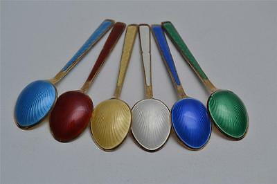 6 MULTI COLORED STERLING SILVER ENAMEL CAVIAR SPOONS MARKED