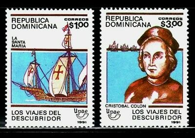 REPUBLICA DOMINICANA 1991 TEMA UPAEP 1088A/B CRISTOBAL COLON Y LOS VIAJES 2v.