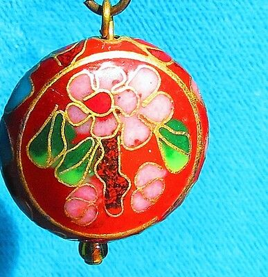 Cloisonne enamel chinese pink red green flowers pendant charm     id