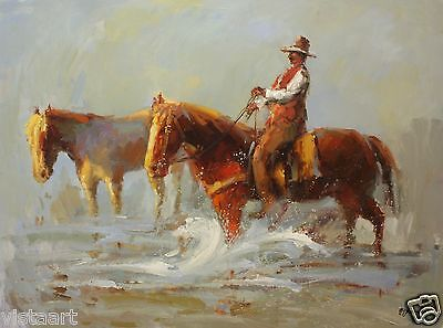 """Quality Oil Painting on Canvas 30""""x40"""" - Horseback Riding"""