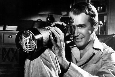 James Stewart Rear Window Smiling As He Looks Through Exakta Camera 24X36 Poster