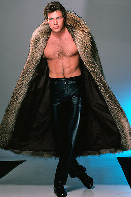 Jon-Erik Hexum dramatic bare chest fur coat tight black leather pants Poster