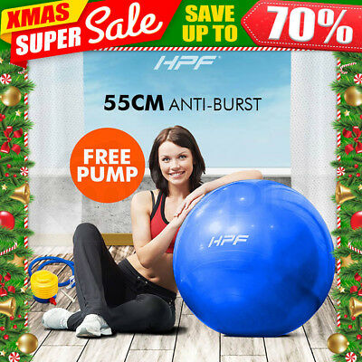 New HPF 75cm Yoga Gym Exercise Ball Pilates Swiss Fitness Workout Blue Foot Pump
