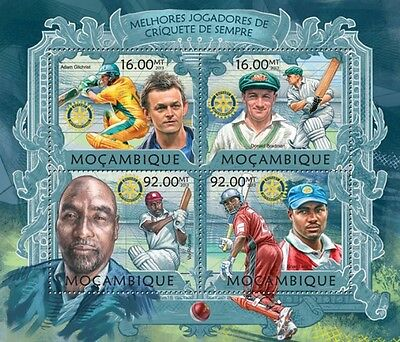 MOZAMBIQUE 2013 Rotary CRICKET Sheet 4v MNH BRADMAN LARA GILCHRIST RICHARDS
