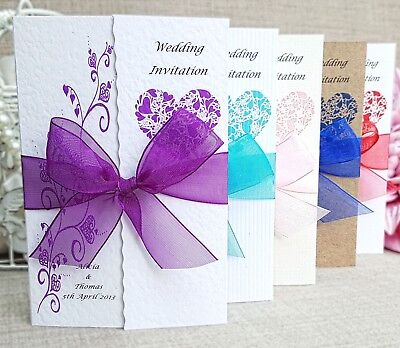 Personalised Handmade Gatefold Wedding Day Evening Invitations with Envelopes