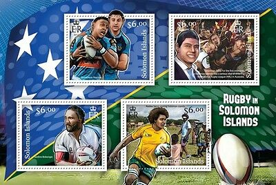SOLOMON IS 2013 RUGBY in Solomon Islands SHEET 4 values IMPERFORATE MNH