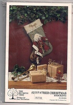 "Father Christmas 14"" Stocking Buckeye Tree 3D Design Santa  with list attached"