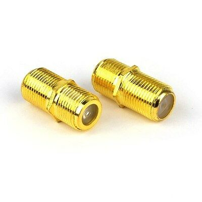 """LOT OF 3 - TriQuest Coaxial Cable """"F"""" Connector Extension Adapters (3) 2-Packs"""