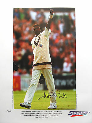CURTLY AMBROSE SIGNED 55 x 40cm LTD ED LITHO PHOTO PROOF WEST INDIES CRICKET