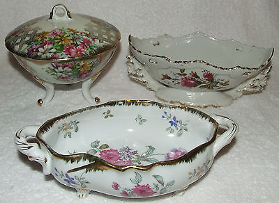 RARE LEFTON CHINA *COSMOS* 1949 COVERED CANDY DISH & 2 FLORAL TRINKET NUT BOWLS
