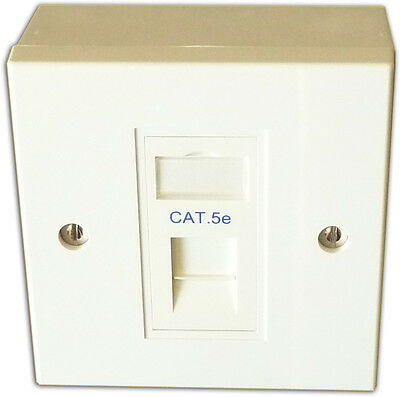1 Way Single LAN RJ45 Cat 5e Gigabit Ethernet Network Faceplate, Backbox, Module