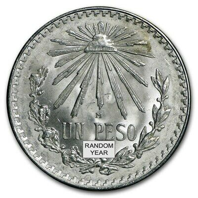 1922-1945 Mexican XF+ .720 Silver Un Peso Large Cap and Ray Random Yrs. Coin