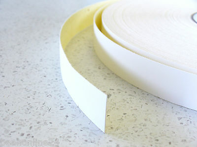 White Melamine Edge Tape - 21mm x 10m Pre-Glued Iron On Veneer Laminate