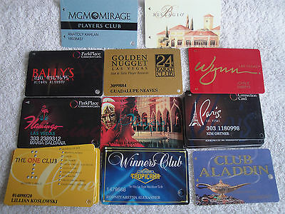 11 USED CASINO LAS VEGAS NV PLAYERS CLUB CARD ALADDIN WYNN BELLAGIO TROPICANA