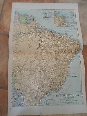 Old Map SOUTH AMERICA N.E. From Bacon's Popular Atlas Of The World 1907 (No 45)