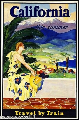 1930s California Travel by Train Vintage Railroad Travel Advertisement Poster