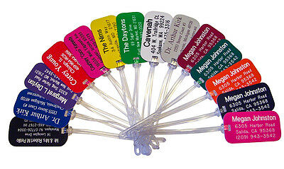 Set of 5 Personalize Plastic Engraved Luggage Backpack Laptop ID Tags 20 Colors