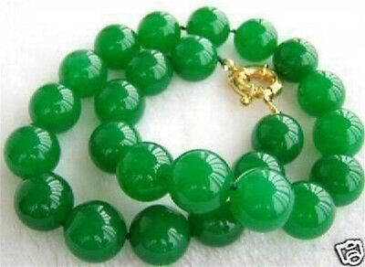 "10Mm Natural Green Jade Round Bead Necklace 18"" Aaa+"