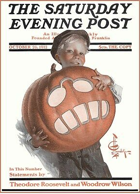 HALLOWEEN CAT HARPER/'S WEEKLY MAGAZINE VINTAGE REPRODUCTION POSTER