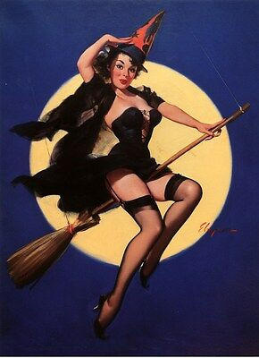 Halloween Witch On Broom  Pinup Elvgren 1958 Vintage Reproduction Poster