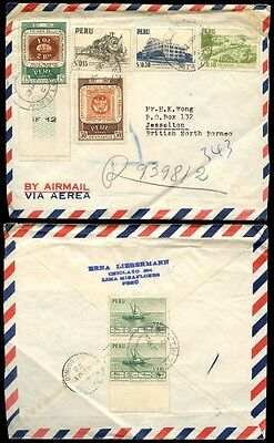 PERU to NORTH BORNEO 1958 AIRMAIL 6 COLOUR FRANKING REGISTERED