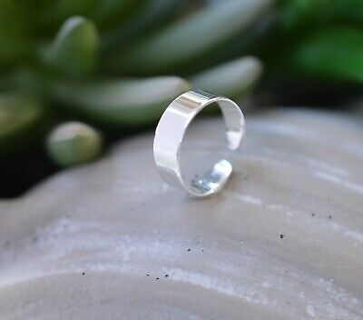 Sterling Silver (925) Adjustable Solid Band Toe Ring 5 mm  !!     Brand New !!