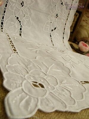 Vtg HAND Embroidered Needle Lace Table Runner Scarf White - Victorian ROSES 34""