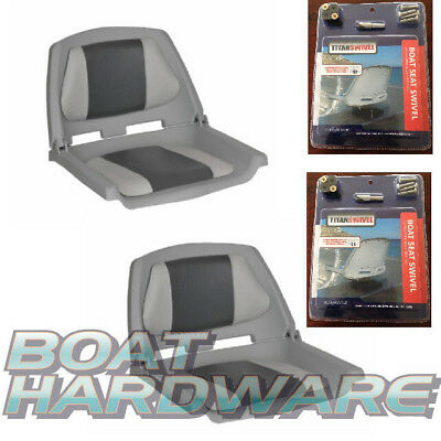 2 x NEW Folding Moulded Padded Boat Seat Grey/Charcoal PLUS 2 x SEAT SWIVEL KITS
