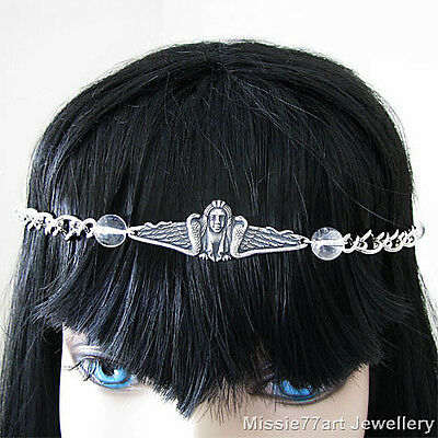 Silver Ancient Egyptian Goddess Isis Snake Circlet Headpiece with Clear Quartz
