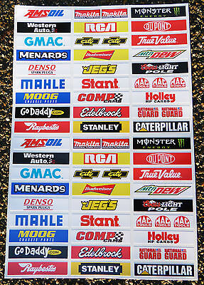 SLOT CAR SCALEXTRIC NASCAR STOCK CAR 1/32nd Barrier stickers signs decals x52!