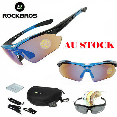 RockBros Cycling Sports Glasses Polarized Lenses Sunglasses Goggles Black Blue