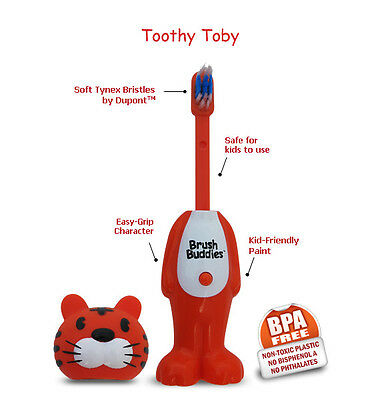 Brush Buddies Poppin Tiger Toby - Children Toothbrush - Gentle on gums