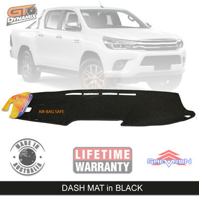 BLACK DASH MAT for TOYOTA Hilux SR5 SR Workmate MY16 GEN 8 7/2015-18 DM1412