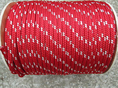 """1/2"""" X 100' Halyard sail line,anchor rope polyester double braid 8500 USA ,RED"""