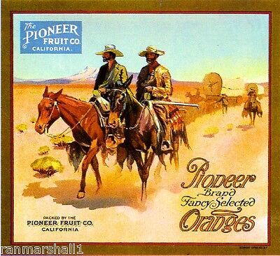 Redlands California Cowboy Pioneer Orange Citrus Fruit Crate Label Art Print