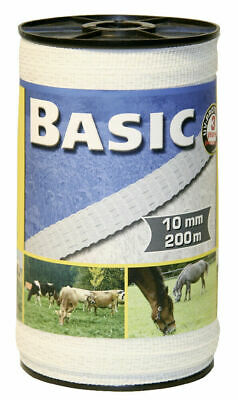 Basic Fencing Tape White 200m x 10mm - Horse/Animal Electric Fencing