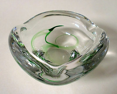 50s 60s Max Verboeket Glas Schale Maastricht Holland glass bowl ashtray signed
