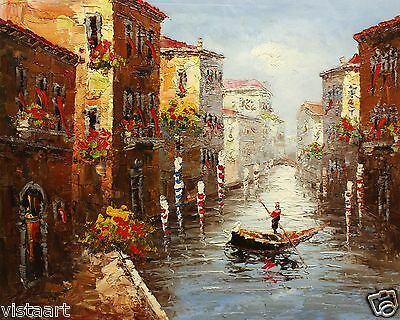 "Hand Painted Oil On Stretched Canvas 20""x24"" -  Venetian Gondola"