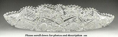 Gorgeous ABP Antique Cut Glass/Crystal Oval Dish Hobstar Diamond Designs