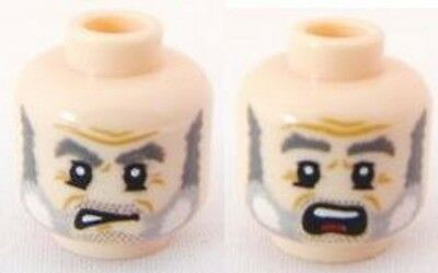 Head Dual Sided Black Eyebrows Lego Minifig Determined #53 Gray Wrinkles