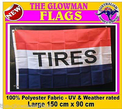 TIRES flag not tyres flag for retail shop store market POS wall window