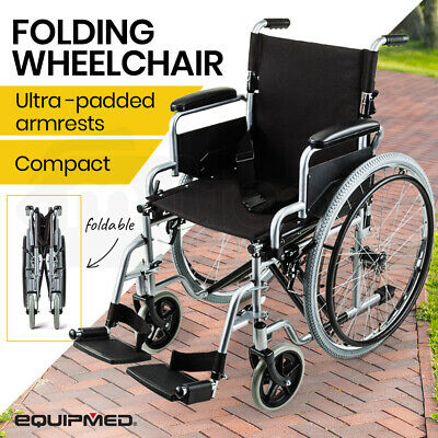 EQUIPMED 24 Inch Folding Wheelchair with Park Brakes Foldable Armrests for Dinin