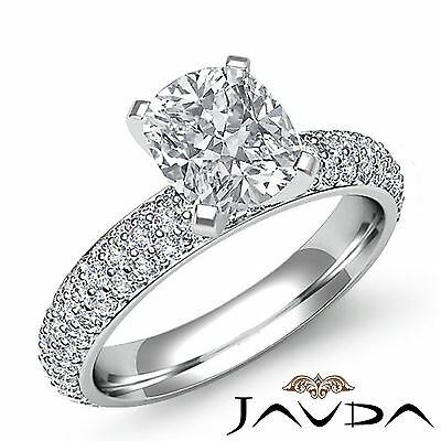 Cushion Cut Diamond Studded Pave Engagement Ring GIA H SI1 14k White Gold 2.08ct