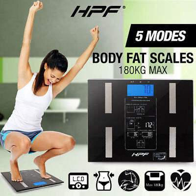 HPF Digital Body Fat Scale Bathroom Scales Gym Weight Water Glass LCD Electronic